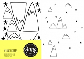 MUURSTICKERS MOUNTAINS & STARS wit
