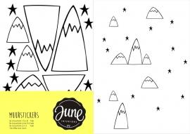 MUURSTICKERS MOUNTAINS & STARS zwart