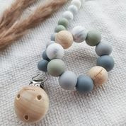 Speenkoord Chewies -  beads ombre sage