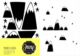 MUURSTICKERS MOUNTAINS & STARS zwart
