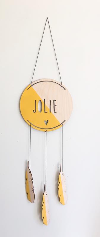 Dromenvanger okergeel met naam by June Interiors