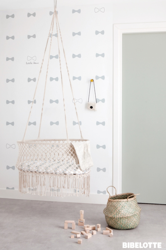 Behang bow zeegroen - Bibelotte