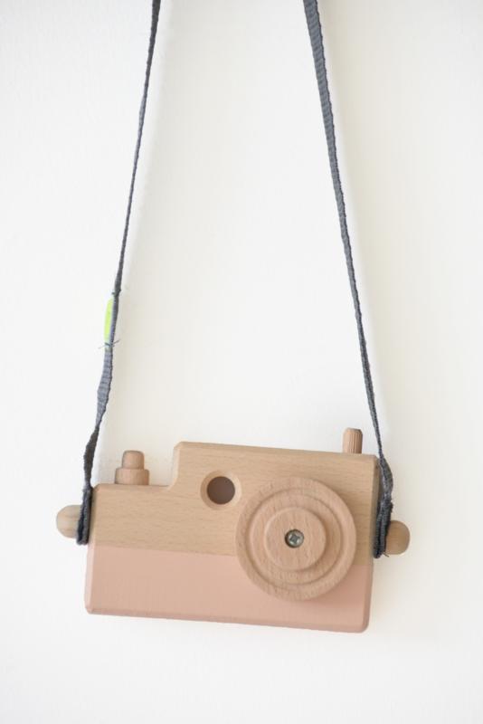 Houten fototoestel poederroze