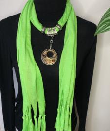 Felgroene sjaalketting met ronde hanger