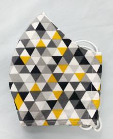 Mondkapje 'driehoekje grijs/okergeel'