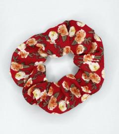 Scrunchie bloemen rood