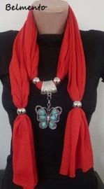 Rode sjaalketting met vlinder hanger