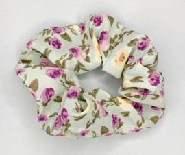 Scrunchie bloemen lichtgroen