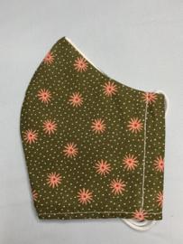 Mondkapje 'olijfgroen bloem'
