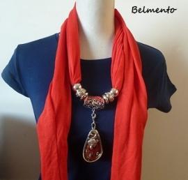 Rode sjaalketting met -vos- hanger