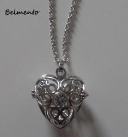 Engelenroeper hanger hart strass zilverkleur