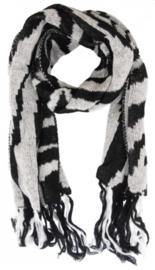 Zwarte sjaal zebra print