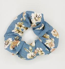 Scrunchie bloem blauw