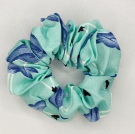 Scrunchie flamingo zeeblauw