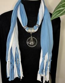 Blauw/witte sjaalketting met ronde hanger