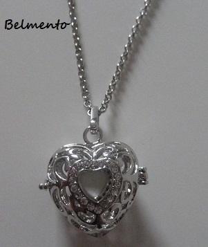 Engelenroeper hanger hart zilverkleur