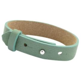 Cuoio leren armband Mist green
