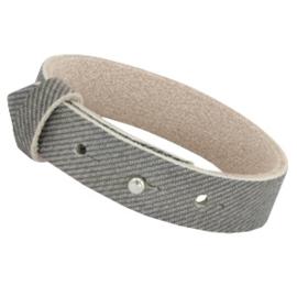 Cuoio leren armband Denim grijs