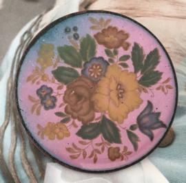 Emaille bloemenbroche