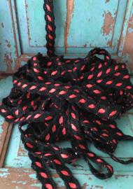 """Zwart met roze """"blaadje""""  (400cm)"""