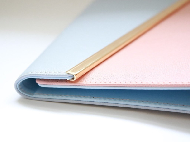 Leather Peony Planner LEEG Blue & Peach