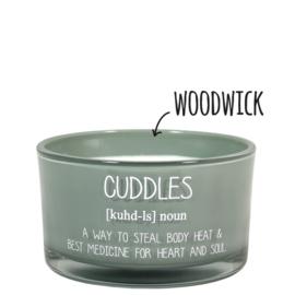 Sojakaars met houten lont - My Flame - Cuddles /  Minty Bamboo