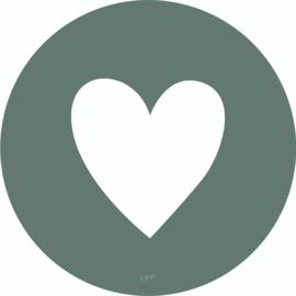 Muurcirkel 30 cm - Hart - Groen