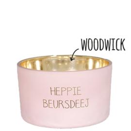 Woodwick kaars - Heppie Beursdeej