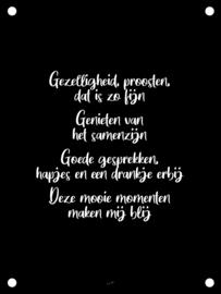 Tuinposter - Gezelligheid & Proosten - Zwart