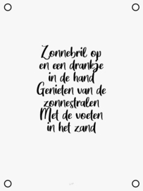 Tuinposter - Zonnebril op - Wit