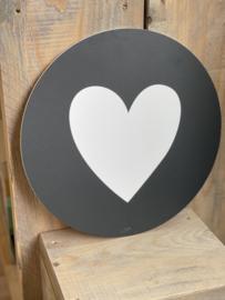 Muurcirkel 30cm - Hart - Zwarte achtergrond