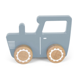 Houten tractor Blauw - Little Dutch