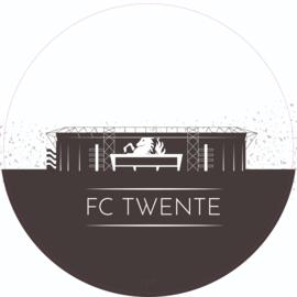 Muurcirkel - FC Twente 30cm - Zwart Wit