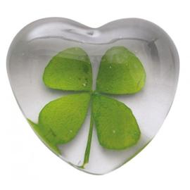 Geluksklaver in glazen hart
