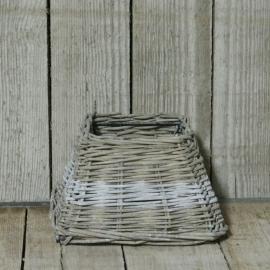 Rieten lampenkap met witte streep