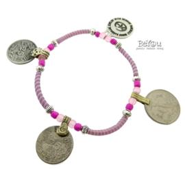 Flip Flop Bracelet Coins Pink