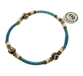 Flip Flop Bracelet African Beads Turquoise Blue