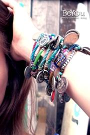 Flip Flop Bracelet Beads 'n Coins Multi Blue