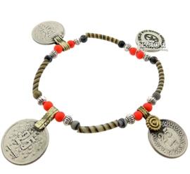 Flip Flop Bracelet Coins Caramel