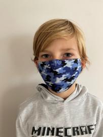 Wasbaar Mondkapje Kids Leger Blauw