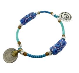 Flip Flop Bracelet Beads 'n Coins Turquoise Blue