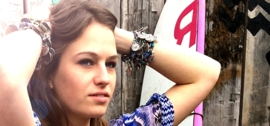 Flip Flop Bracelet African Beads Turquoise Blue