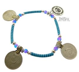 Flip Flop Bracelet Coins Turquoise Blue