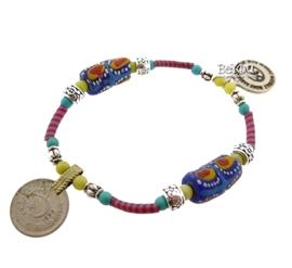 Flip Flop Bracelet Beads 'n Coins Multicolor