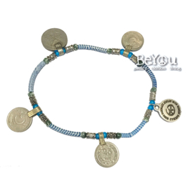 Flip Flop Ankle Bracelet Coins Blue