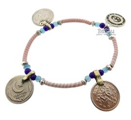 Flip Flop Bracelet Coins Pink Blue