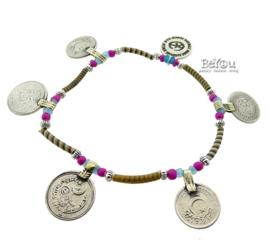 Flip Flop Ankle Bracelet Coins Caramel