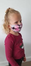Wasbaar Mondkapje Kids Leger Roze