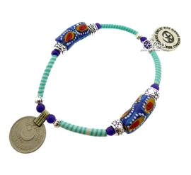 Flip Flop Bracelet Beads 'n Coins Turquoise