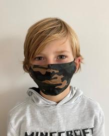 Wasbaar Mondkapje Kids Leger Groen